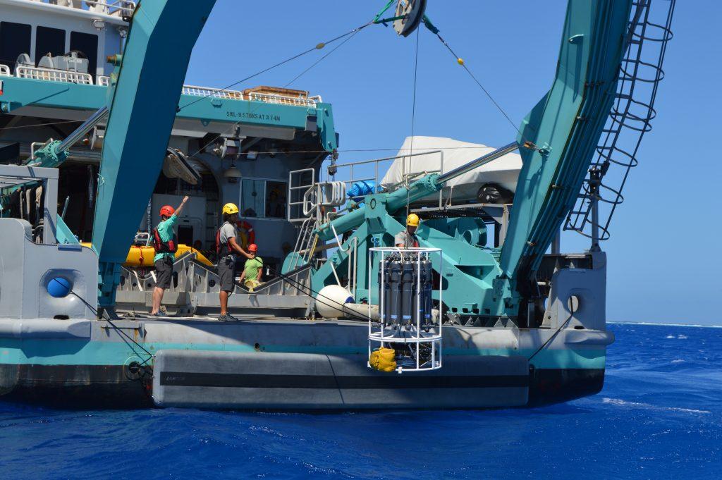 Full stern view of M/V Alucia CTD rosette deployment operations.