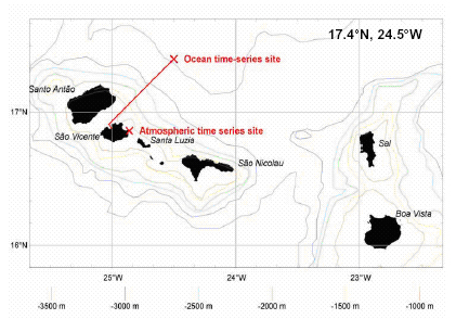 Location of new TENATSO atmospheric and ocean sampling sites on Cape Verde.