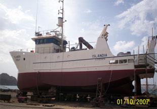 INDP research ship (R/V Islandia) in dry dock at Mindelo
