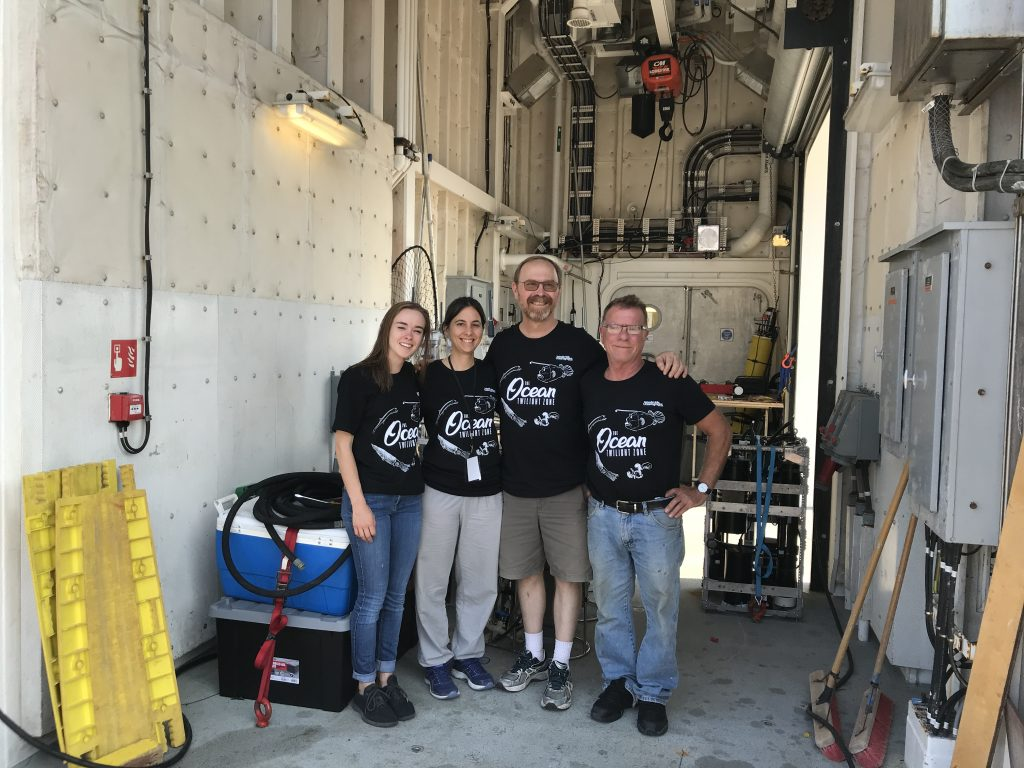 Cafe Thorium ready to leave on Exports. (left to right) Samantha Clevenger, Muntsa Roca-Marti, Ken Buesseler, Steve Pike.