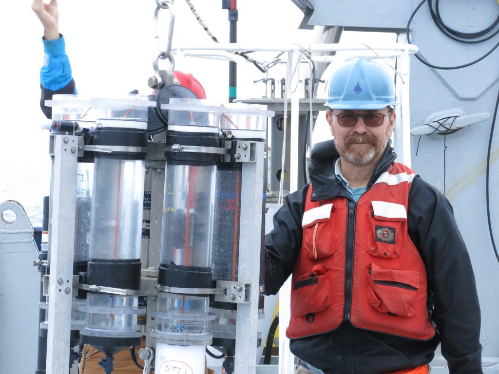 Ken on the r/v Revelle with Sediment Trap.