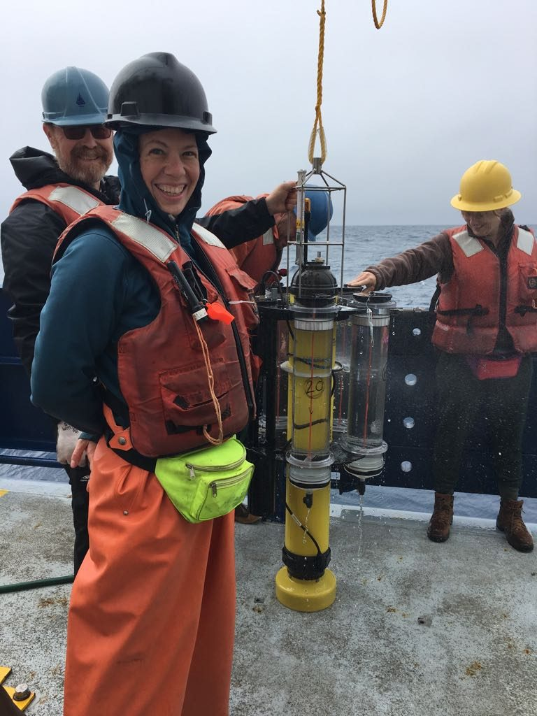 Recovery of a no-longer-lost trap. (left to right) Ken Buesseler, Meg Estapa and Melissa Omand. r/v Revelle. Photo courtesy of Ken Buesseler